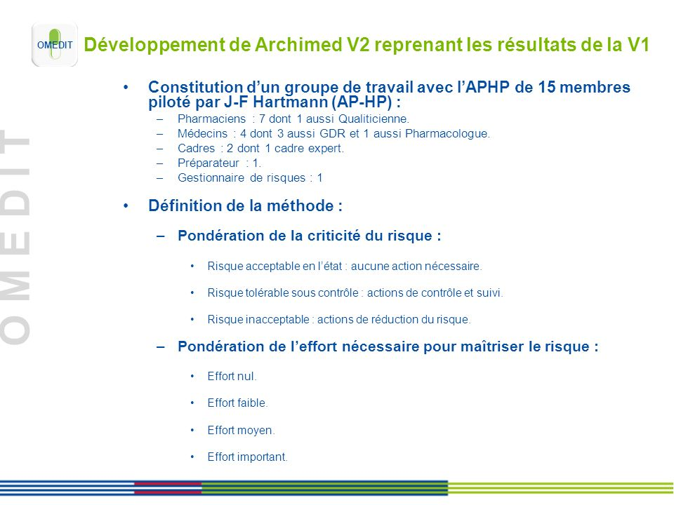 Développement de Archimed V2 reprenant les résultats de la V1