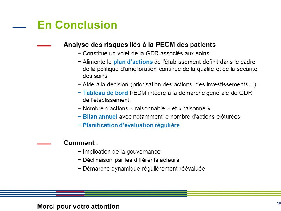 En Conclusion Analyse des risques liés à la PECM des patients