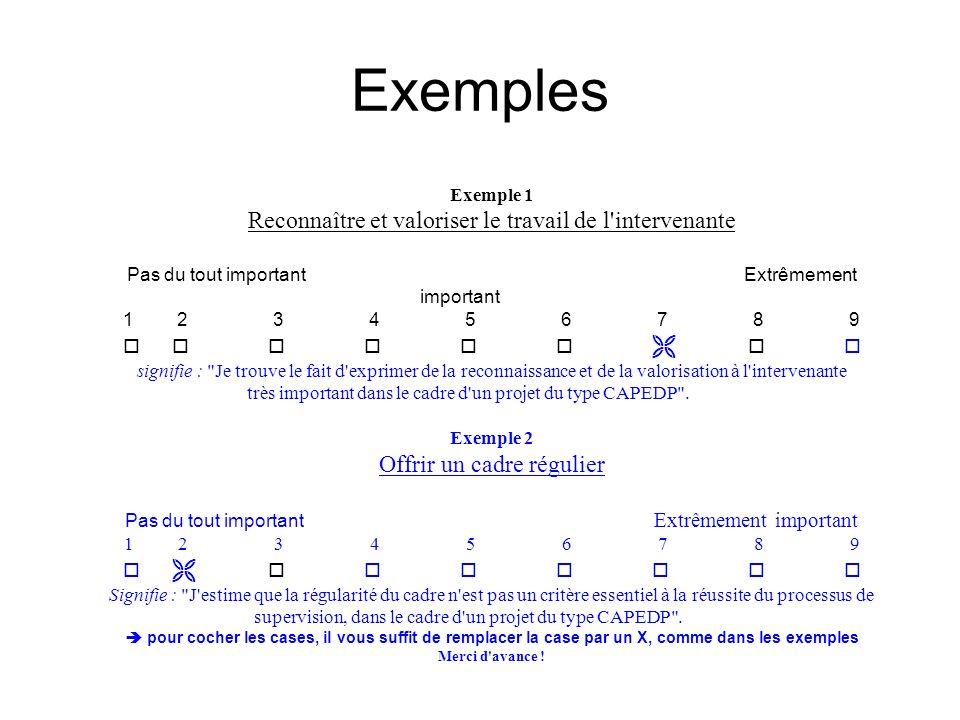 Exemples Reconnaître et valoriser le travail de l intervenante
