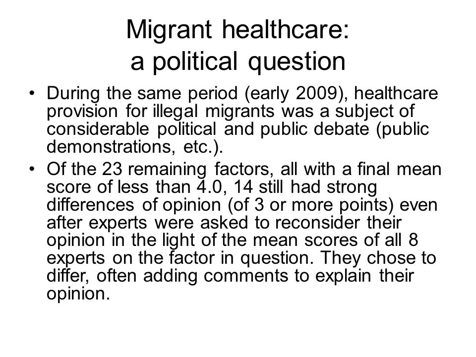 Migrant healthcare: a political question
