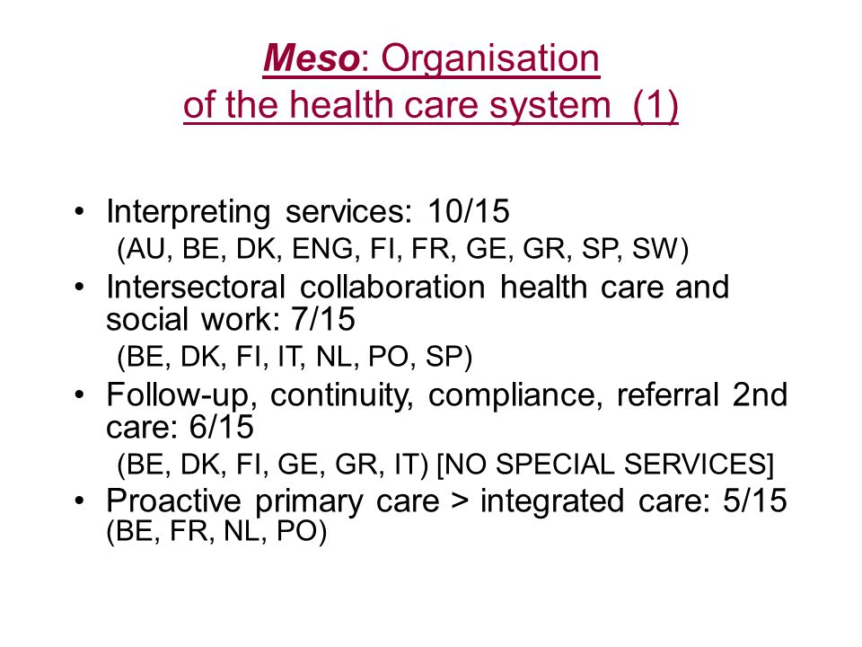 Meso: Organisation of the health care system (1)