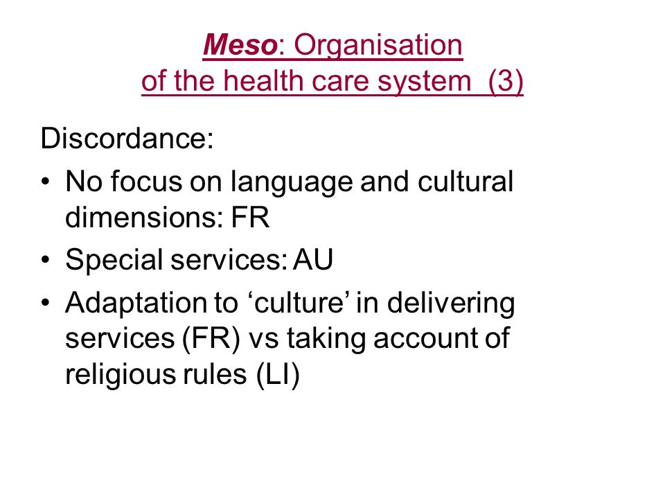 Meso: Organisation of the health care system (3)