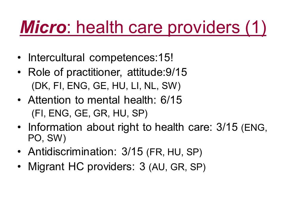 Micro: health care providers (1)