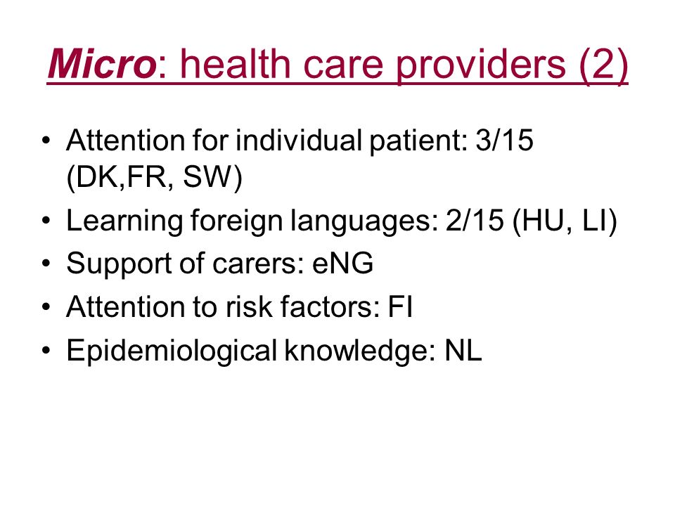 Micro: health care providers (2)