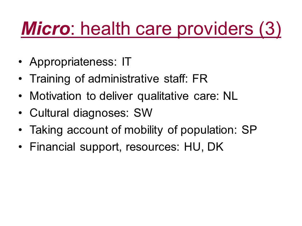 Micro: health care providers (3)
