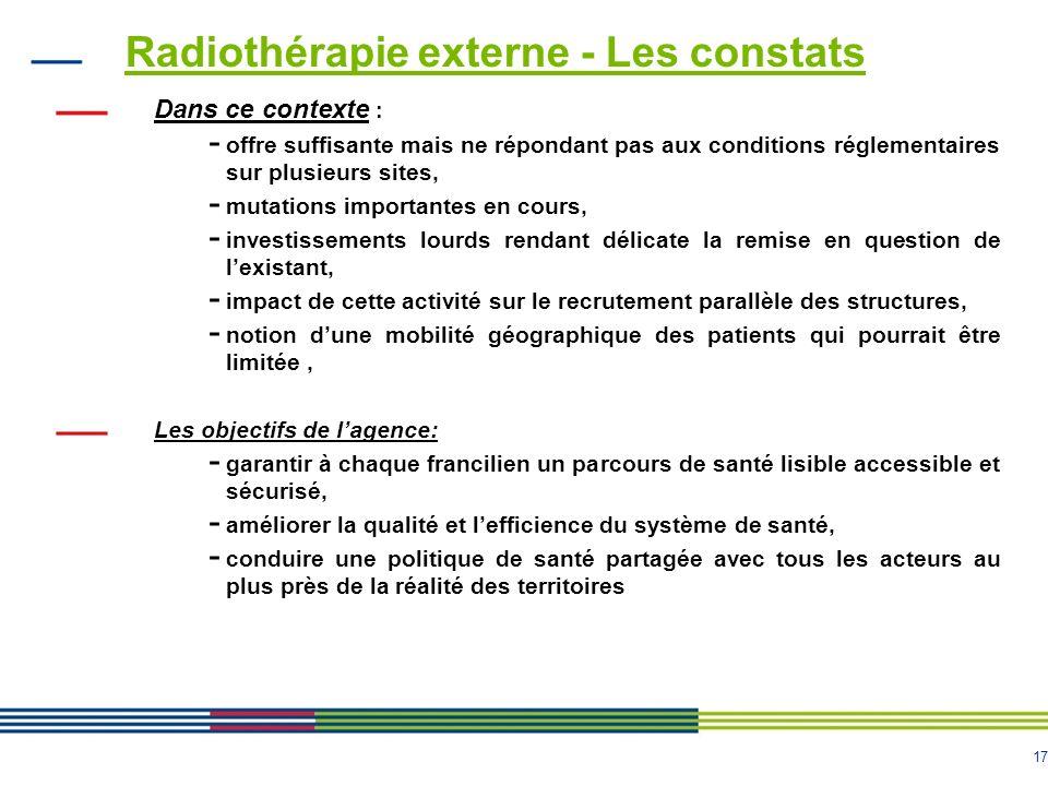 Radiothérapie externe - Les constats