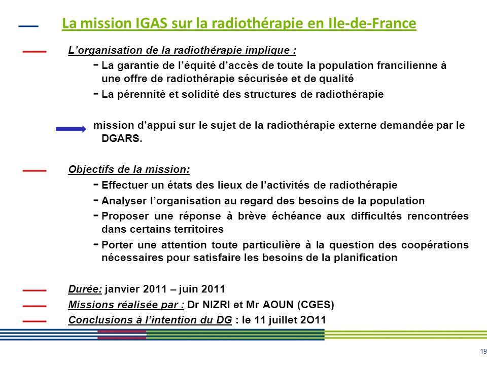 La mission IGAS sur la radiothérapie en Ile-de-France