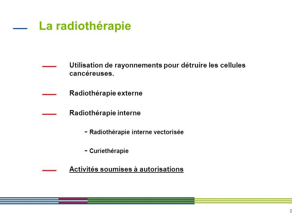 La radiothérapie Utilisation de rayonnements pour détruire les cellules cancéreuses. Radiothérapie externe.