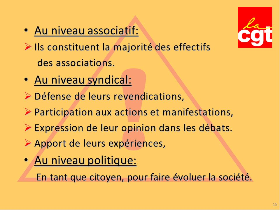 ! Au niveau associatif: Au niveau syndical: Au niveau politique: