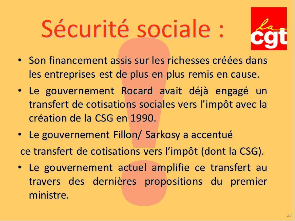! Sécurité sociale : Son financement assis sur les richesses créées dans les entreprises est de plus en plus remis en cause.