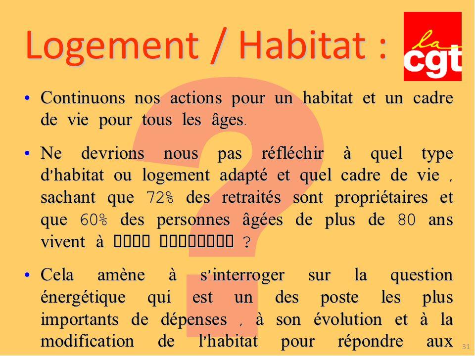 Logement / Habitat : Continuons nos actions pour un habitat et un cadre de vie pour tous les âges.