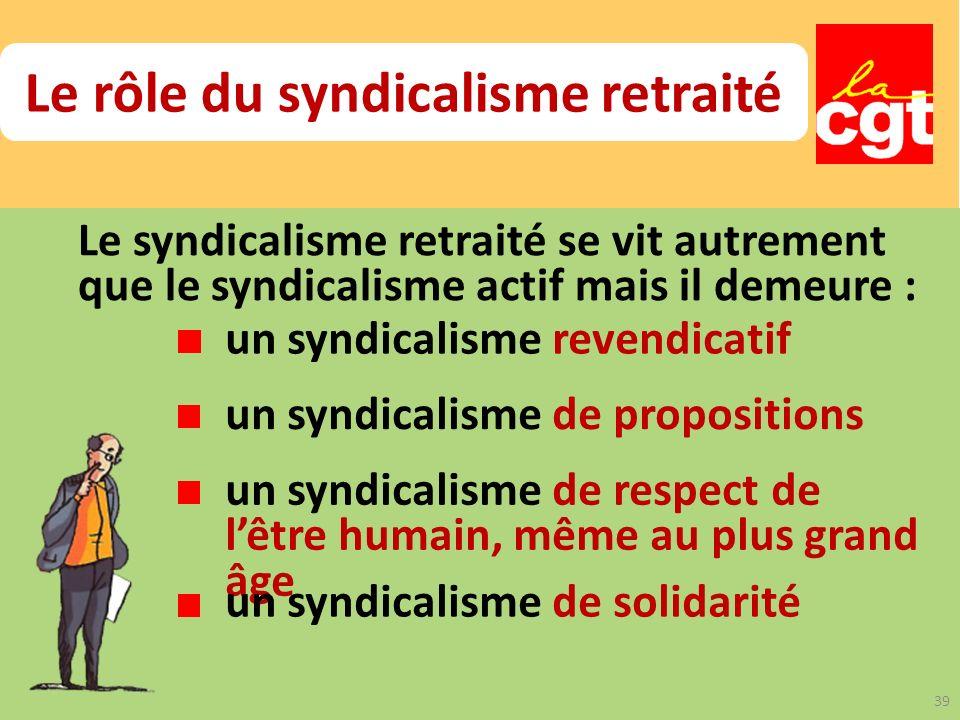 Le rôle du syndicalisme retraité