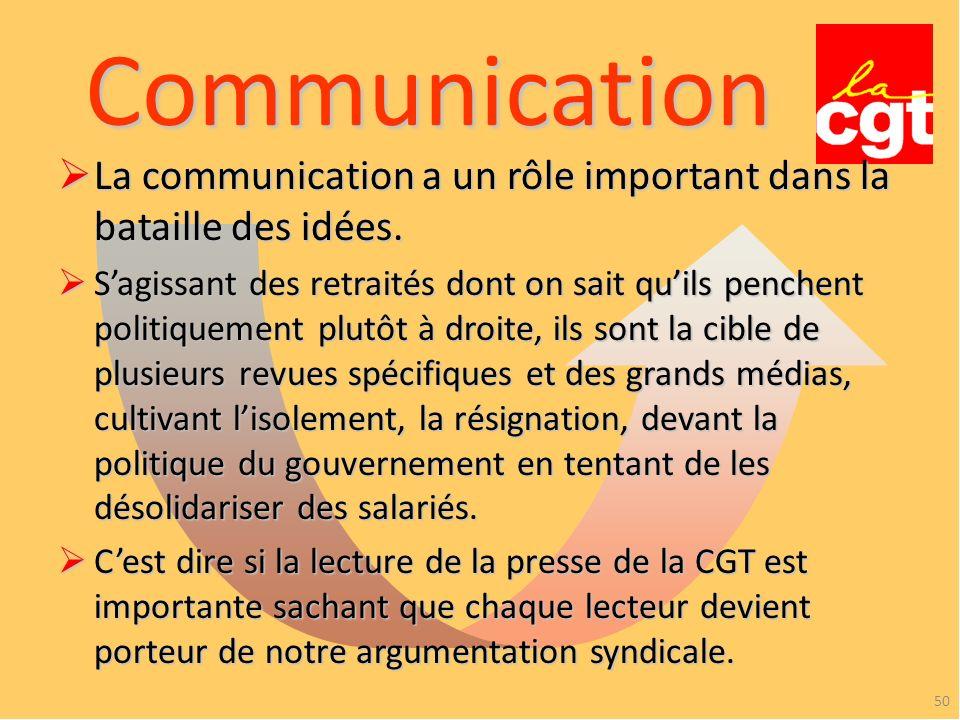 Communication La communication a un rôle important dans la bataille des idées.