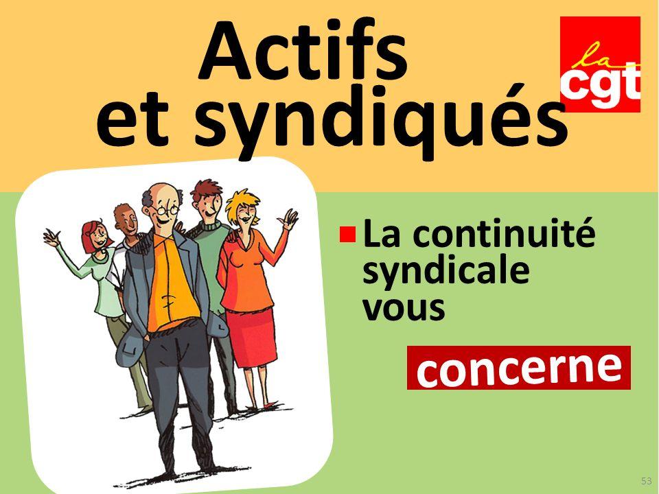 Actifs et syndiqués La continuité syndicale vous concerne