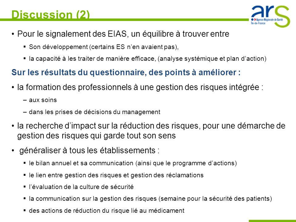 Discussion (2) Pour le signalement des EIAS, un équilibre à trouver entre. Son développement (certains ES n'en avaient pas),