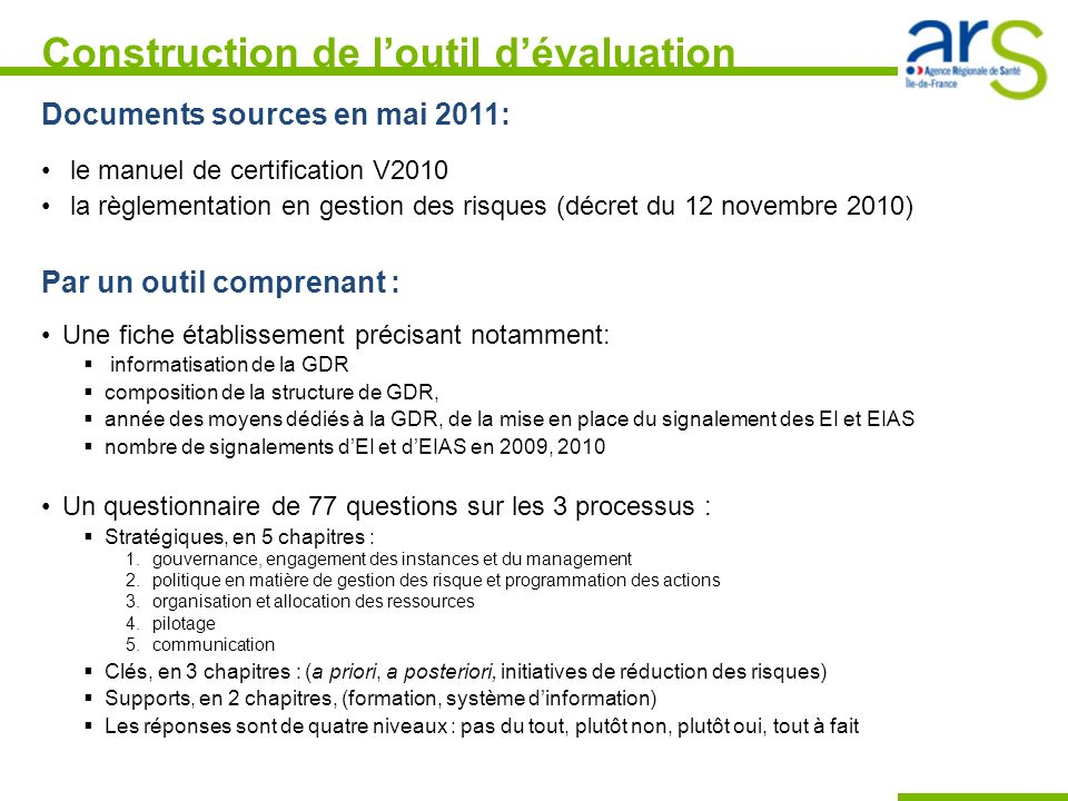 Construction de l'outil d'évaluation