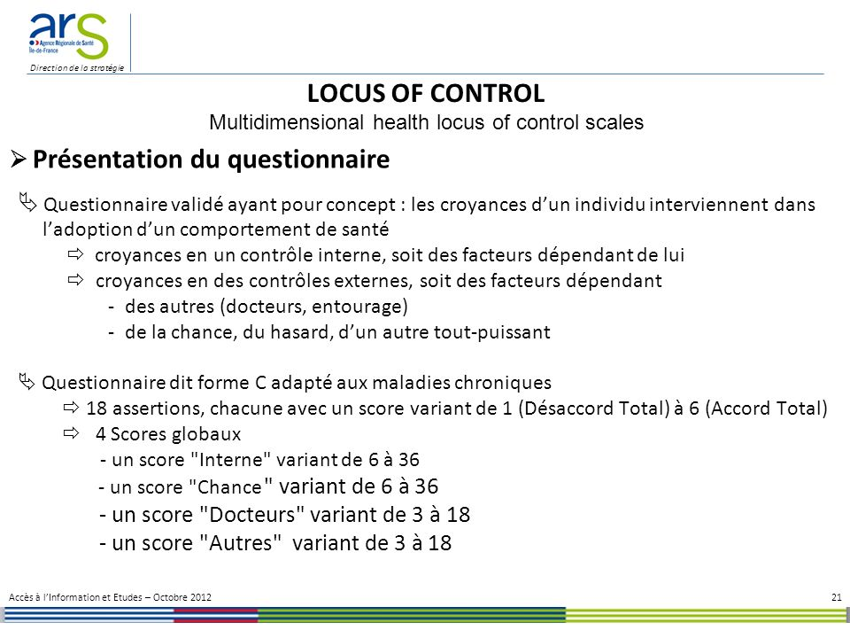 Multidimensional health locus of control scales