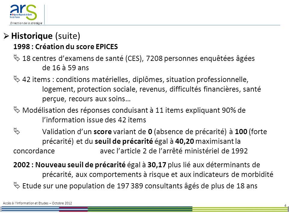 1998 : Création du score EPICES