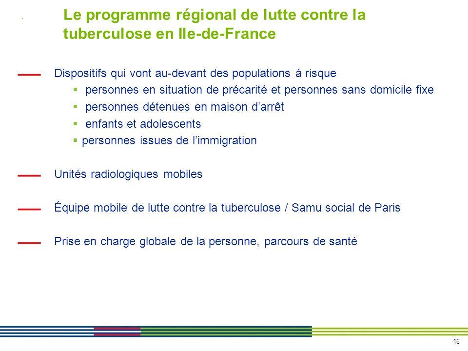 Le programme régional de lutte contre la tuberculose en Ile-de-France