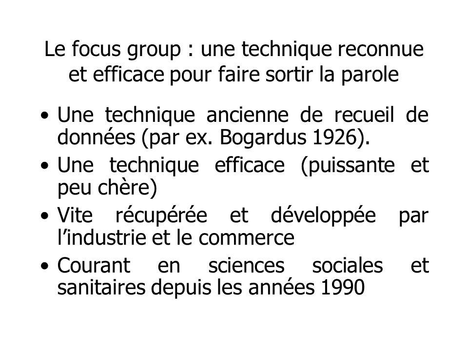 Le focus group : une technique reconnue et efficace pour faire sortir la parole
