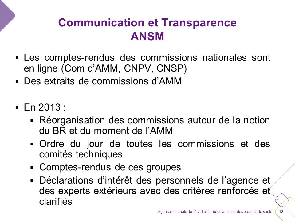 Communication et Transparence ANSM