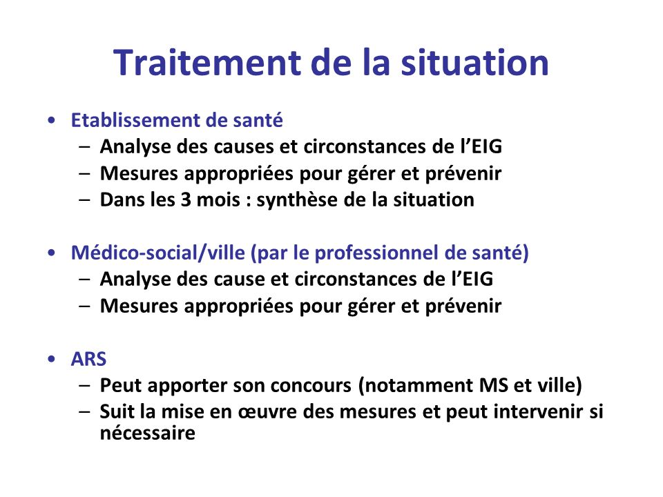 Traitement de la situation