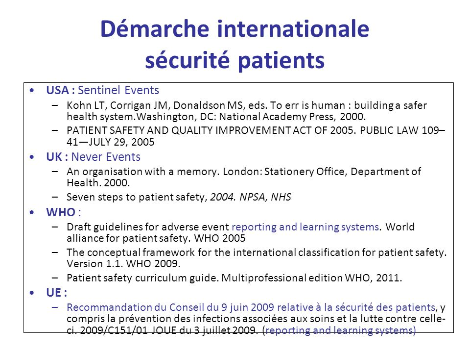 Démarche internationale sécurité patients