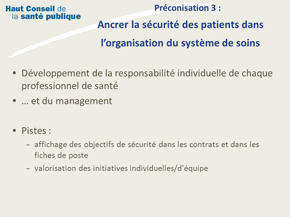 Préconisation 3 : Ancrer la sécurité des patients dans l'organisation du système de soins
