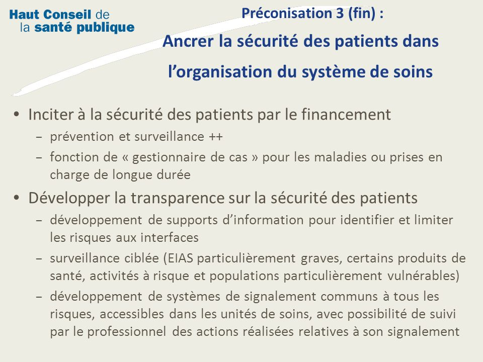 Inciter à la sécurité des patients par le financement