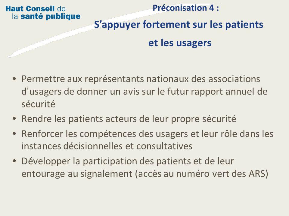 Préconisation 4 : S'appuyer fortement sur les patients et les usagers