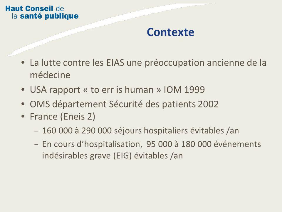 Contexte La lutte contre les EIAS une préoccupation ancienne de la médecine. USA rapport « to err is human » IOM 1999.