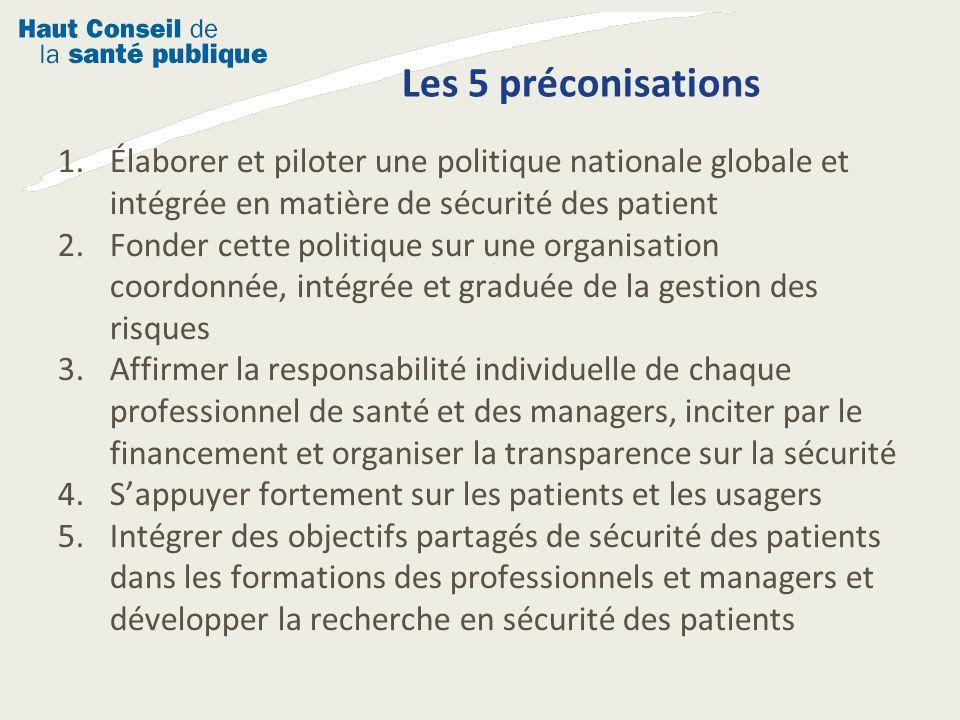 Les 5 préconisations Élaborer et piloter une politique nationale globale et intégrée en matière de sécurité des patient.