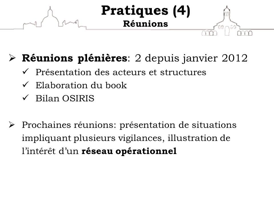 Pratiques (4) Réunions Réunions plénières: 2 depuis janvier 2012