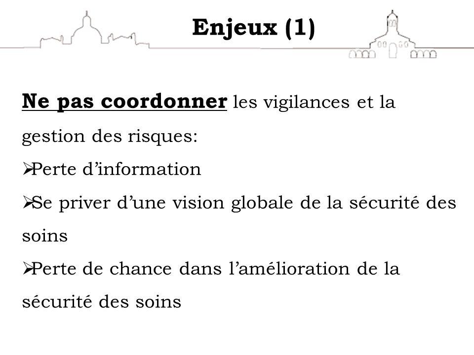 Enjeux (1) Ne pas coordonner les vigilances et la gestion des risques: