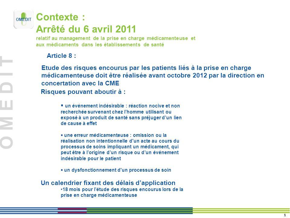 Contexte : Arrêté du 6 avril 2011 relatif au management de la prise en charge médicamenteuse et aux médicaments dans les établissements de santé