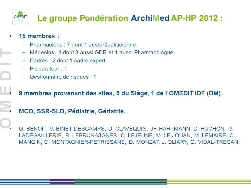 Le groupe Pondération ArchiMed AP-HP 2012 :