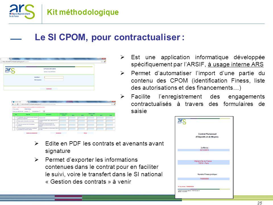 Le SI CPOM, pour contractualiser :