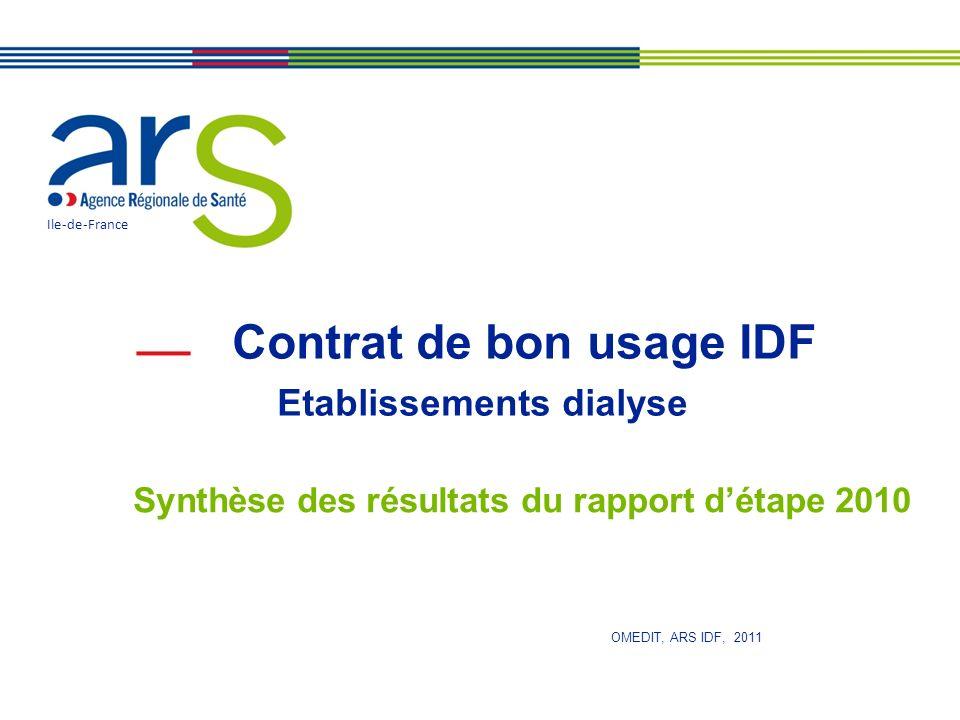 Contrat de bon usage IDF Etablissements dialyse