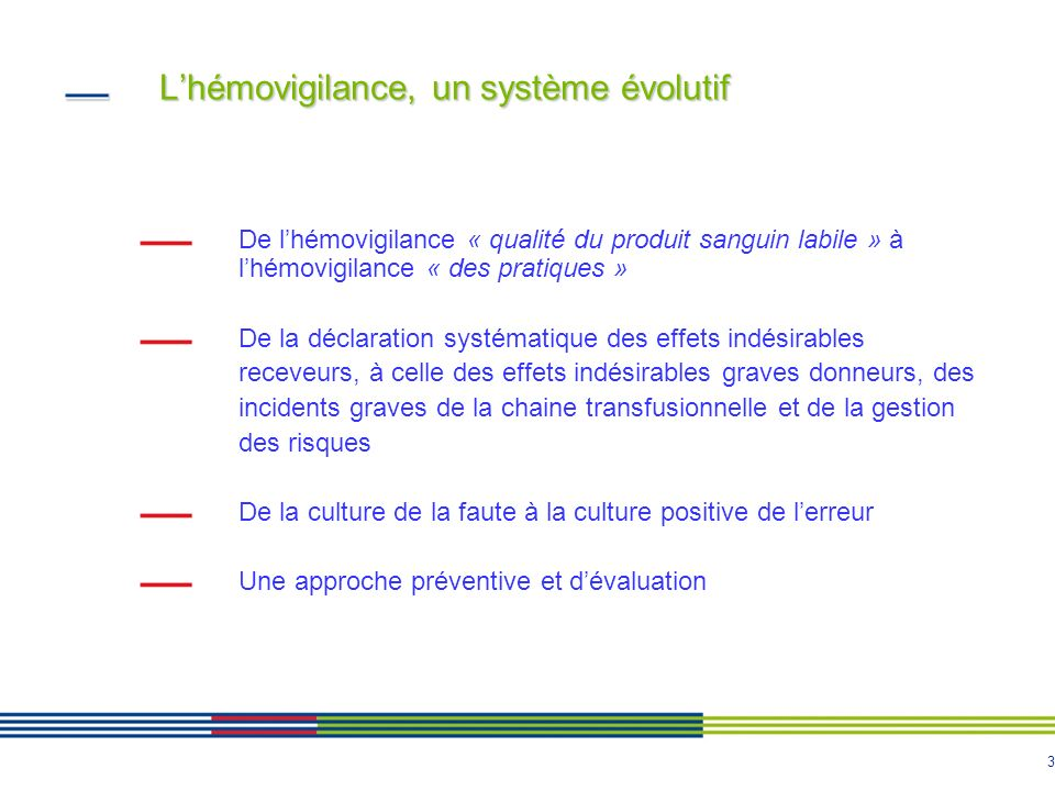 L'hémovigilance, un système évolutif