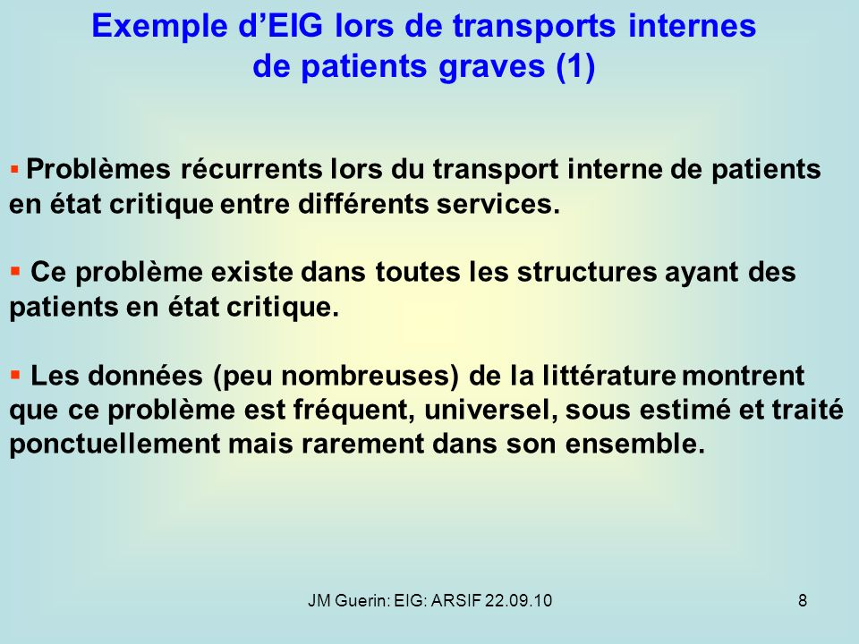 Exemple d'EIG lors de transports internes