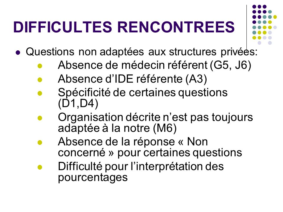 DIFFICULTES RENCONTREES