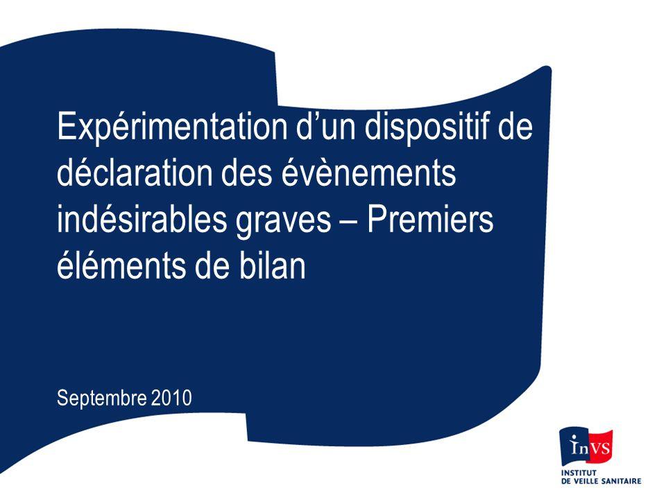 Expérimentation d'un dispositif de déclaration des évènements indésirables graves – Premiers éléments de bilan
