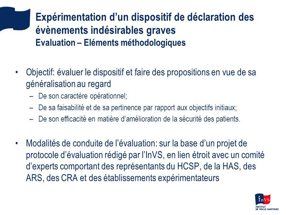Expérimentation d'un dispositif de déclaration des évènements indésirables graves Evaluation – Eléments méthodologiques