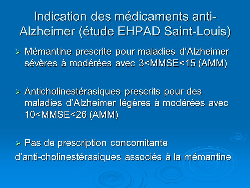 Indication des médicaments anti-Alzheimer (étude EHPAD Saint-Louis)