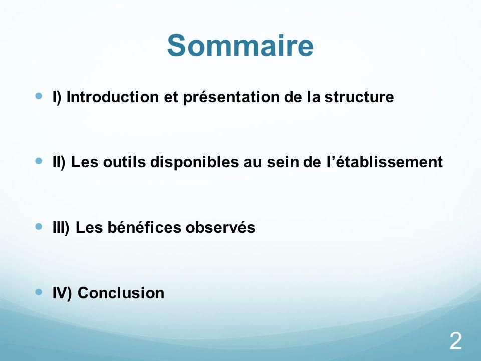 Sommaire I) Introduction et présentation de la structure