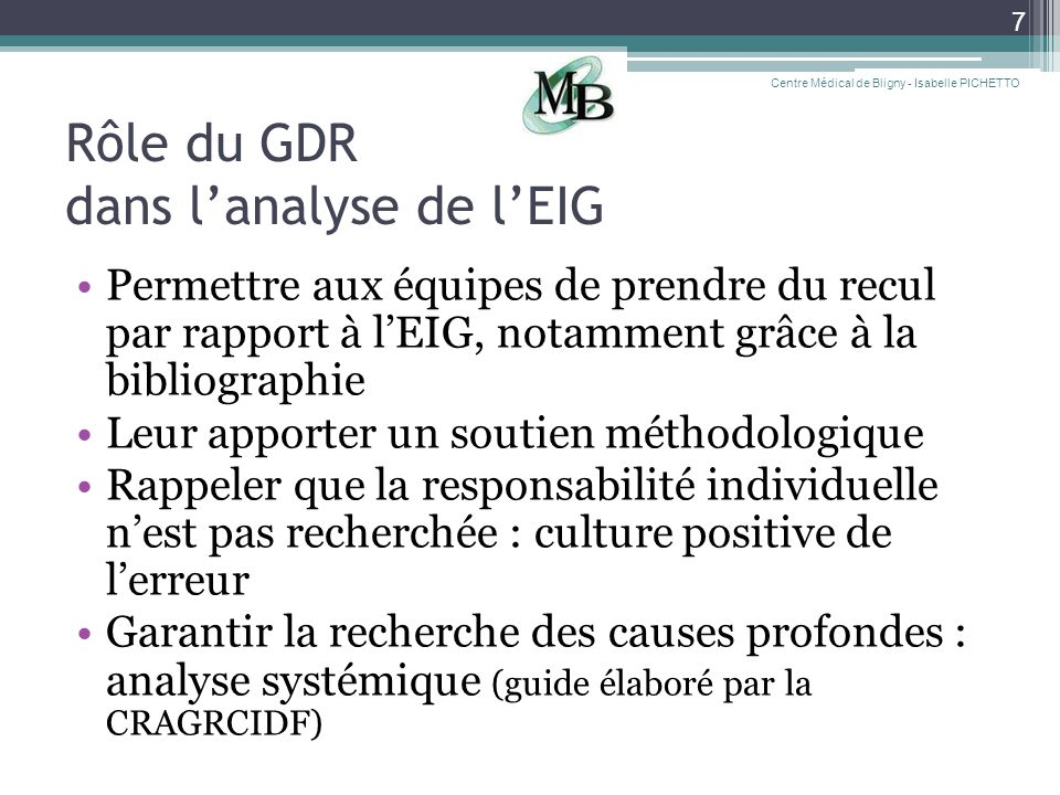 Rôle du GDR dans l'analyse de l'EIG