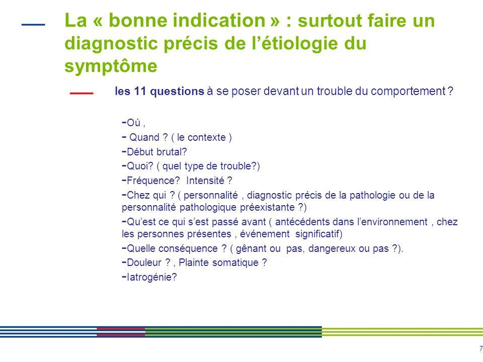 La « bonne indication » : surtout faire un diagnostic précis de l'étiologie du symptôme