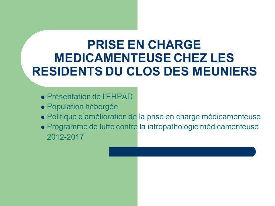 PRISE EN CHARGE MEDICAMENTEUSE CHEZ LES RESIDENTS DU CLOS DES MEUNIERS