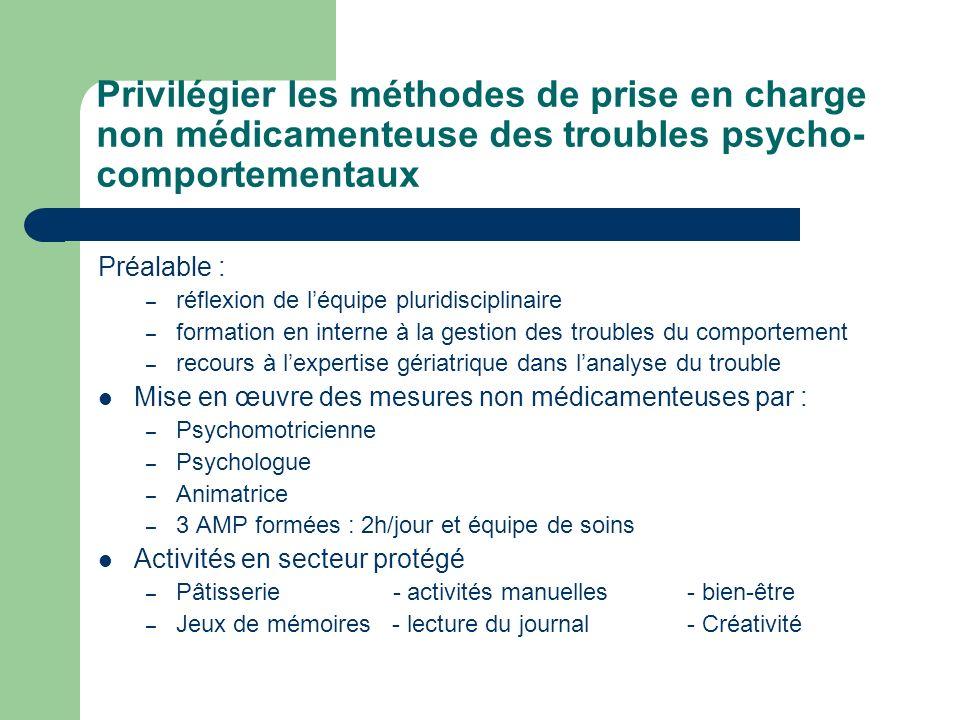 Privilégier les méthodes de prise en charge non médicamenteuse des troubles psycho-comportementaux