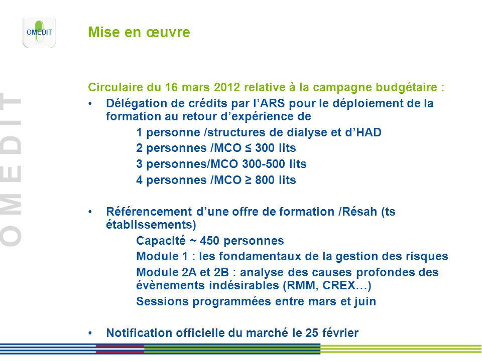 Mise en œuvreCirculaire du 16 mars 2012 relative à la campagne budgétaire :